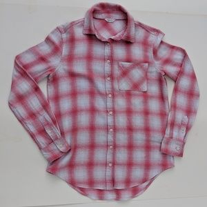 Aeropostale Womens XS Flannel Plaid Shirt Pink